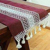 Cotton table runner, 'Burgundy Oaxaca' - Backstrap Handwoven Burgundy & Ivory Cotton Table Runner