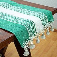 Cotton table runner, 'Oaxaca Milpa' - Oaxaca Handwoven Green & Ivory Cotton Table Runner