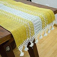 Cotton table runner, 'Zapotec Goldenrod' - Handwoven Yellow- Ivory Cotton Zapotec Table Runner