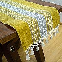 Cotton table runner, 'Zapotec Amber' - Handwoven Mustard Cotton Zapotec Table Runner