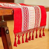 Cotton table runner, 'Zapotec Crimson' - Handwoven Red and Ivory Cotton Zapotec Table Runner