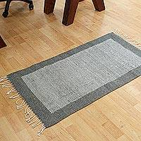 Wool area rug, 'Fine Lines' - Hand Woven Grey and Ecru Wool Area Rug