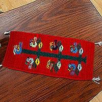 Wool table runner, 'Birds of Teotitlan in Red'