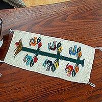 Wool table runner, 'Birds of Teotitlan in Ecru'