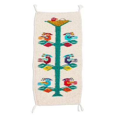 Wool table runner, 'Birds of Teotitlan in Ecru' - Hand Woven Small Ecru Wool Table RUnner with Birds