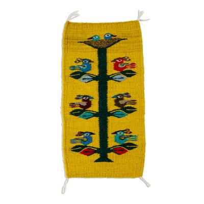 Wool table runner, 'Birds of Teotitlan in Maize' - Yellow/Multi Bird Themed Small Wool Table Runner