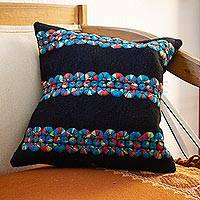 Wool cushion covers, 'Chiapas Cheer in Black' (pair) - Black Wool Cushion Covers with Colorful Embroidery (Pair)
