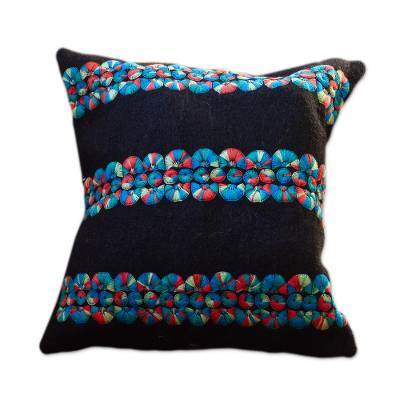 Black Wool Cushion Covers with Colorful Embroidery (Pair)