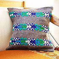 Wool cushion covers, 'Chiapas Cheer in Grey' (pair) - Handmade Embroidered Grey Wool Cushion Covers (Pair)