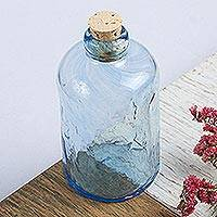 Blown glass bottle, 'Azure Currents' - Eco Friendly Handblown Azure Recycled Glass Bottle w/ Cork