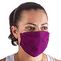 Cotton face masks 'Cheery Pinstripes' (pair) - 2 Handwoven Red & Purple Pinstripe Cotton Face Masks