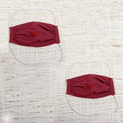 Cotton face masks 'Burgundy Berry' (pair) - 2 Handwoven Embroidered Burgundy Cotton Face Masks
