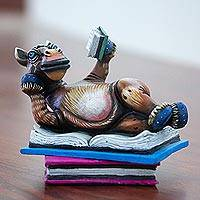 Ceramic sculpture, 'Horse Reads' - Limited Edition Ceramic Horse Sculpture