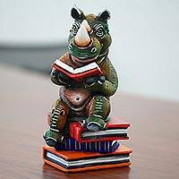 Ceramic sculpture, 'Rhinoceros Reads' - Original Signed Reading Rhino Sculpture from Mexico
