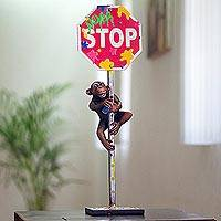 Hand-painted bronze sculpture, 'Stop, Chimpanzee!' - Witty Chimpanzee and Stop Sign Bronze Sculpture
