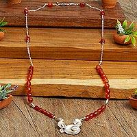 Calcite pendant necklace, 'Sunny Seashells' - Yellow Calcite and Sterling Silver Necklace from Mexico