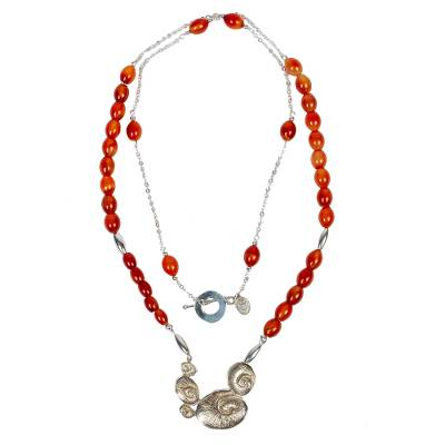 Yellow Calcite and Sterling Silver Necklace from Mexico