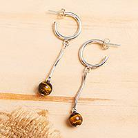 Tiger's eye drop earrings, 'Dreaming' - Abstract Tiger's Eye and Sterling Silver Drop Earrings