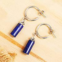 Lapis lazuli half hook earrings, 'Blue Nostalgia' - Lapis Lazuli and Sterling Silver Half Hook Earrings