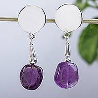 Amethyst dangle earrings, 'Violet Freedom' - Artisan Crafted Modern Amethyst and Sterling Silver Earrings
