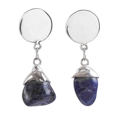Artisan Crafted Modern Sodalite and Sterling Silver Earrings