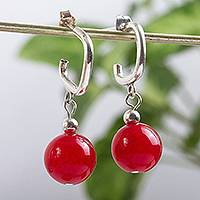 Carnelian half hook earrings, 'Bright Nostalgia' - Carnelian and Sterling Silver Half Hook Earrings