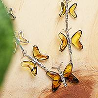 Amber pendant necklace, 'Butterfly Garland' - Amber and Sterling Silver Garland Necklace