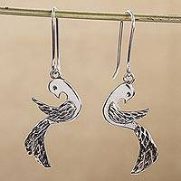 Sterling silver dangle earrings, 'Paradise Doves' - Handcrafted Taxco Sterling Silver Bird Earrings