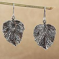 Sterling silver dangle earrings, 'Brilliant Nature' - Realistic Sterling Silver Leaf Dangle Earrings