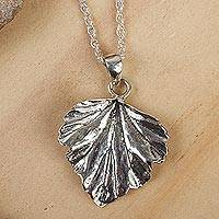 Sterling silver pendant necklace, 'Taxco Fall' - Realistic Taxco Silver Leaf Pendant Necklace