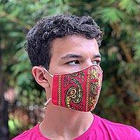 Cotton and polyester face masks, 'Red Bandana' (pair) - 2 Double Layer Red & Yellow Bandana Print Face Masks