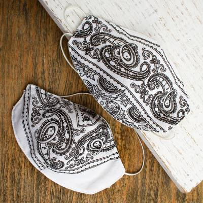Cotton and polyester face masks, White Bandana (pair)