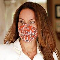 Cotton and polyester face masks, 'Orange Bandana' (pair) - 2 Double Layer Orange & White Bandana Print Face Masks