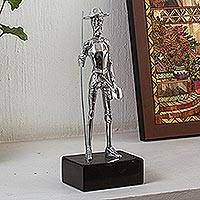 Aluminum statuette, 'Knightly Quixote' - Aluminum Don Quixote Sculpture from Mexico