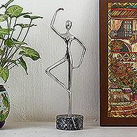 Aluminum and marble sculpture, 'Ballerina Balance in Grey' - Ballerina Pirouette Statuette Hand Cast from Aluminum