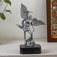 Aluminum and marble sculpture, 'Archangel Michael in Grey' - Cast Aluminum and Marble Archangel Michael Sculpture