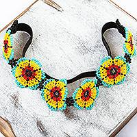 Beaded headband, 'Mexican Sunrise' - Beaded Floral Headband Handmade in Mexico