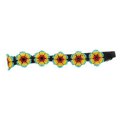 Beaded headband, 'Mexican Sunrise' - Beaded Floral Headband Handmade in Mexico
