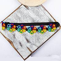 Beaded headband, 'Mexican Garden' - Artisan Crafted Floral Beaded Headband