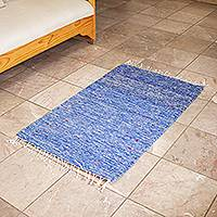 Wool area rug, 'Star of the Sea' (2x3.5) - Hand Loomed All Wool Blue Area Rug (2x3.5)