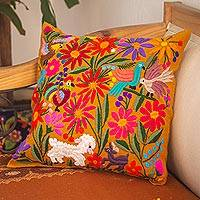 Embroidered cotton cushion cover, 'Otomi Oasis' - Otomi-Style Cotton Cushion Cover from Mexico