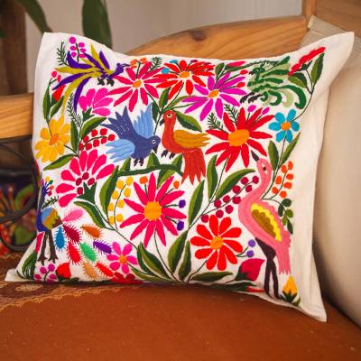 Embroidered cotton cushion cover, 'Otomi Eden' - Hand Woven Floral Embroidered Cushion Cover