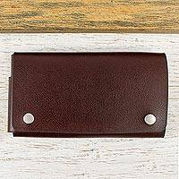 Leather cell phone case, 'Seamless in Espresso' (7.5 inch) - Hand Crafted Brown Leather Phone Case (7.5 Inch)