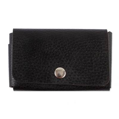 Artisan Crafted Black Leather Coin Purse