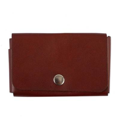 Brown Leather Card Case Handmade in Mexico