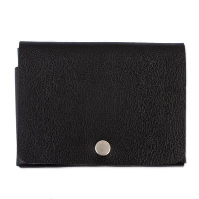 Seamless Black Leather Passport Case