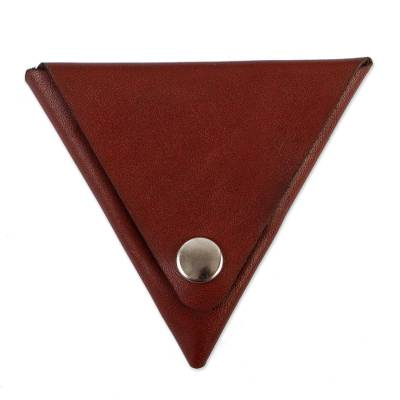 Triangular Brown Leather Coin Purse