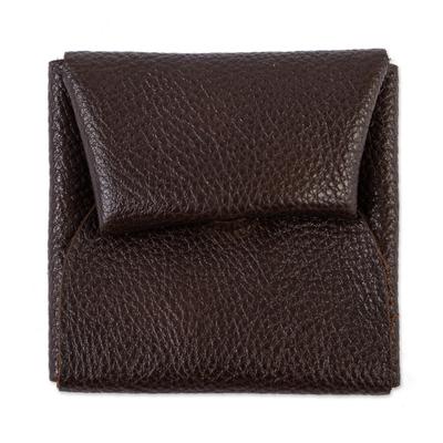 Full Grain Brown Leather Coin Purse