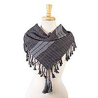 Cotton scarf, 'Chiapas Charisma' - All Cotton Black and Grey Hand Loomed Scarf