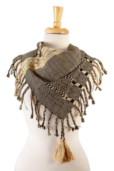 Artisan Crafted Beige and Black Patterned Cotton Scarf